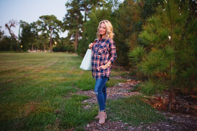 Fall fashion - plaid button down and jeans