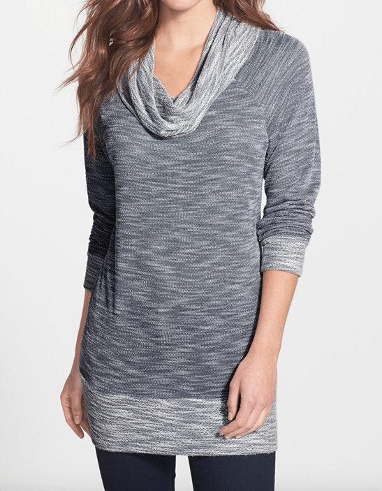 Fall/Winter fashion - Bobeau Cowl Neck Tunic Top