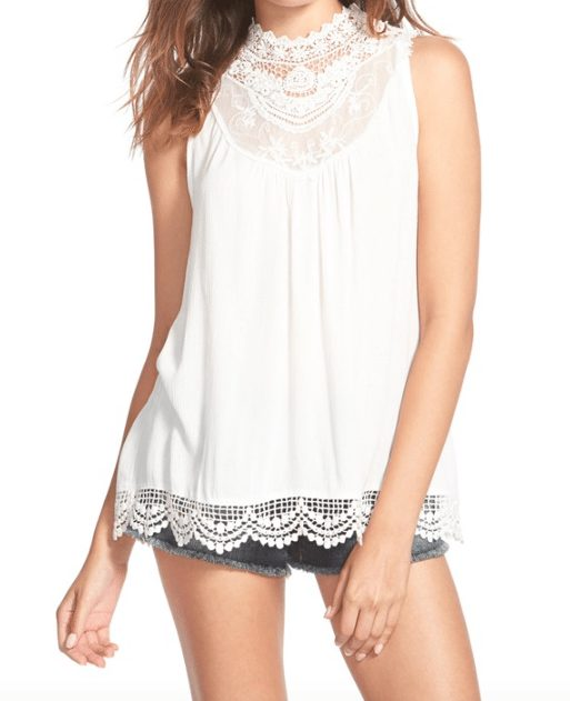 Fire High Neck Lace Trim Top