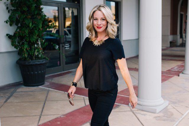 Fall fashion - all black, Topshop scallop tee