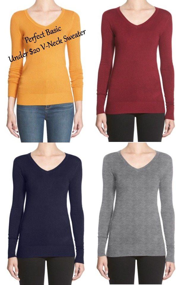 Fall fashion - basic solid thin v-neck sweater