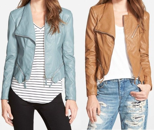 Fall fashion - BLANKNYC Faux Leather Jacket in light blue or tan