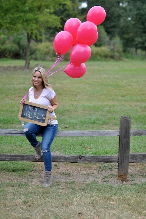 Gender Reveal - It's a Girl chalk sign and balloons   Honey We're Home