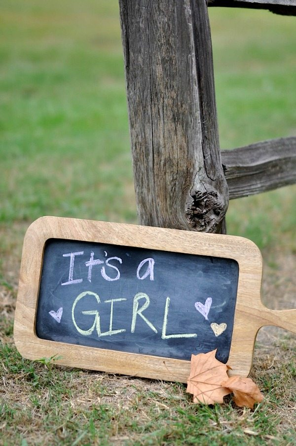 Gender Reveal - It's a Girl chalk sign   Honey We're Home