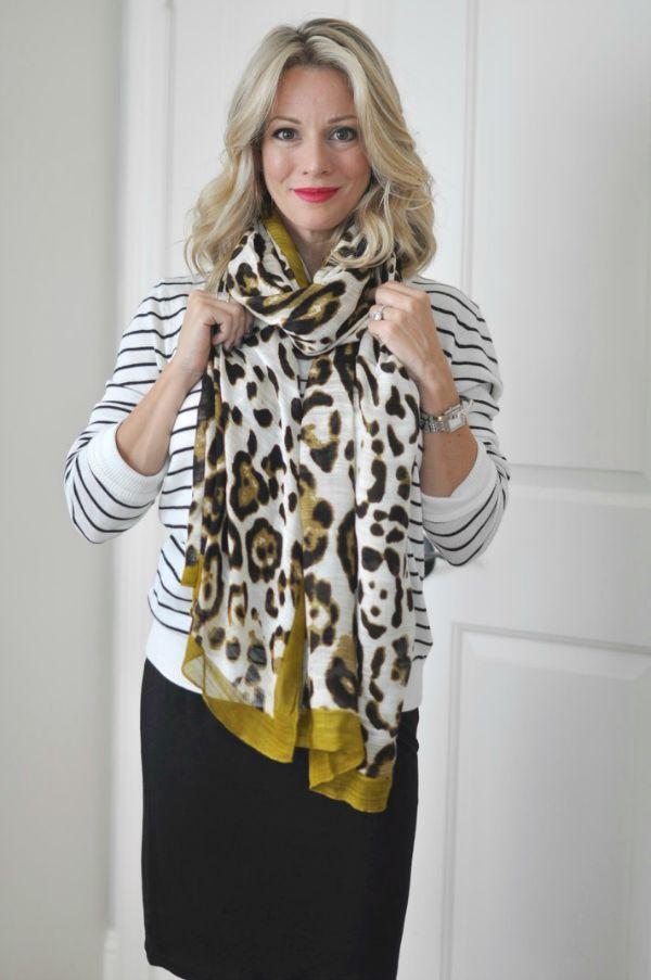 leopard trim scarf