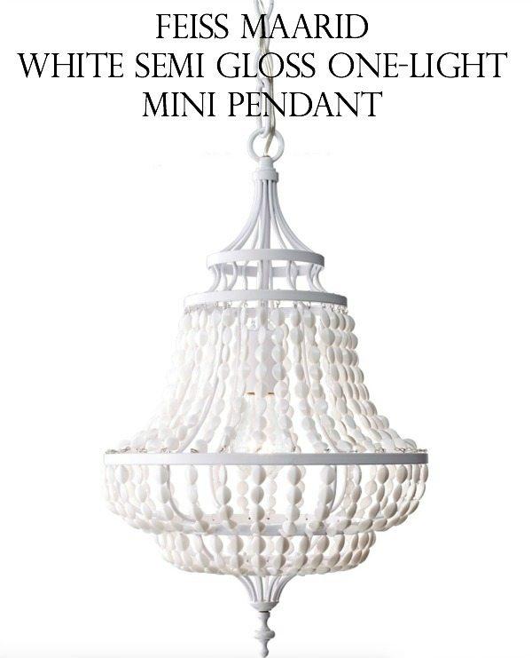 New Gorgeous chandelier Feiss Maarid White Semi Gloss One Light Mini Pendant