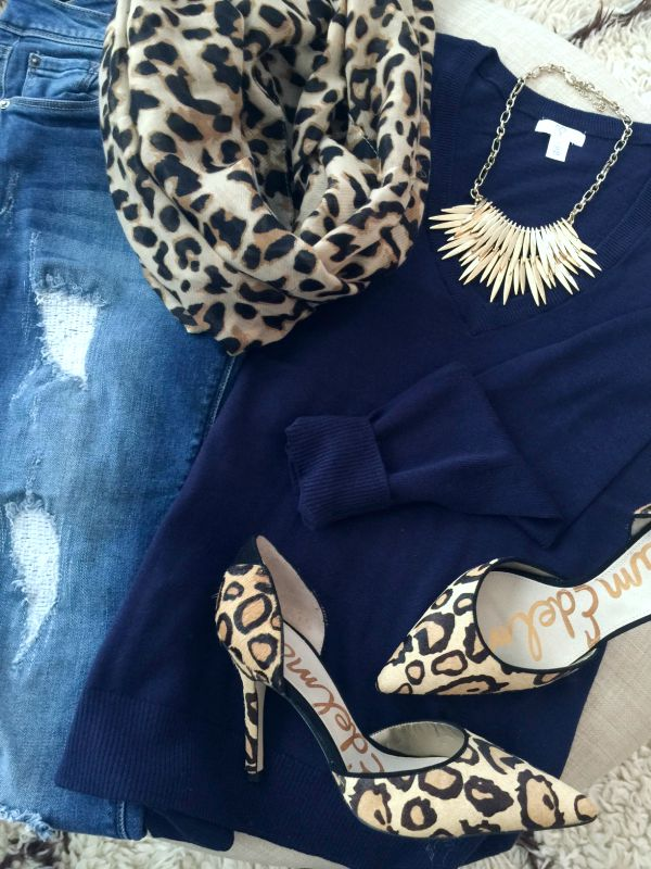 Fall fashion - distressed jeans, solid sweater, statement necklace, leopard heels
