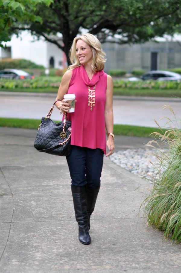 Fall fashion - Jolt skinny jeans, loose top, tall boots
