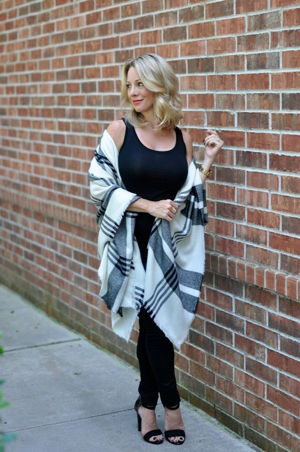 Fall Fashion - plaid poncho with black outfit
