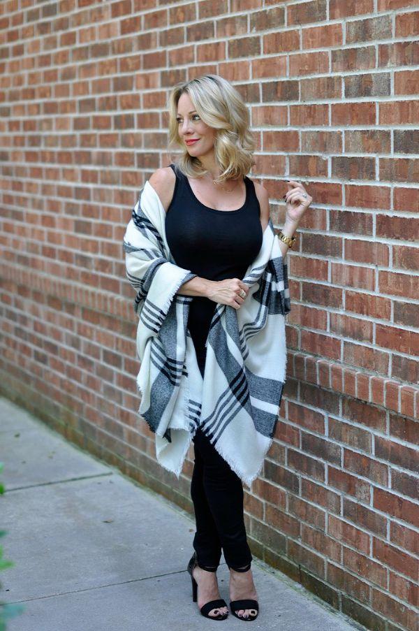 Fall Fashion - plaid poncho with black outfit