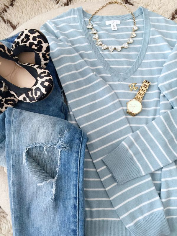 Fall/Winter fashion - distressed jeans and stripe sweater w leopard flats and statement necklace