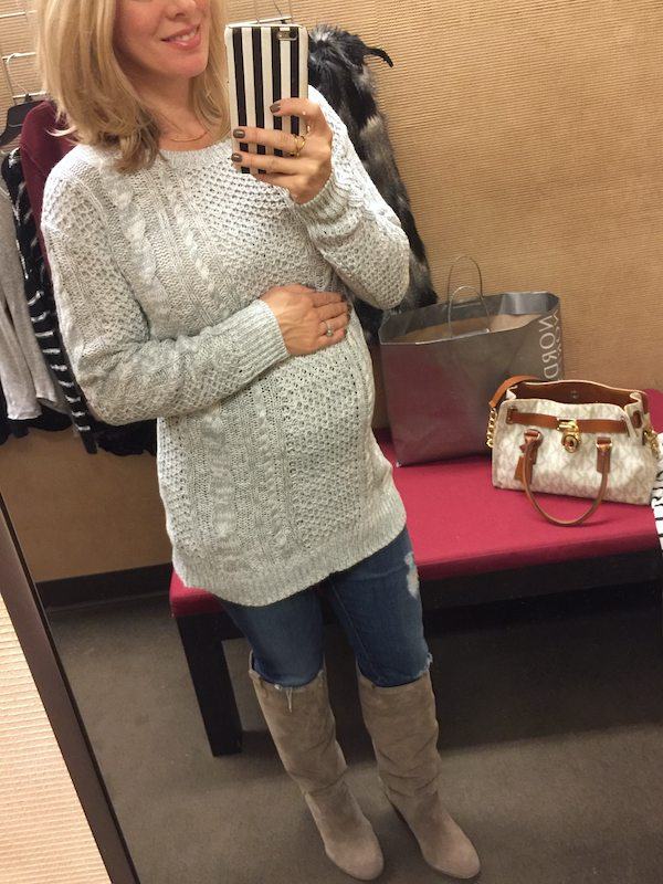 Winter fashion - jeans, tall suede tan boots, cable knit sweater