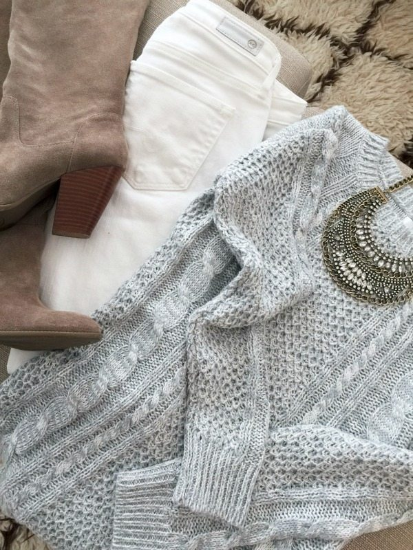 Winter white fashion - white jeans, tall suede tan boots, cable knit sweater and statement necklace