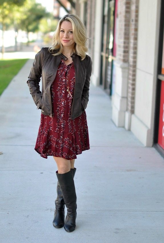 Fall Fashion - Free People Button Front Shirtdress with faux leather jacket and knee high boots