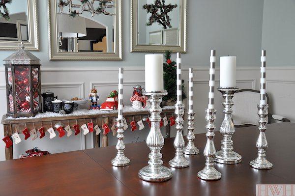 Mercury glass candlesticks & festive holiday decor | Honey We're Home