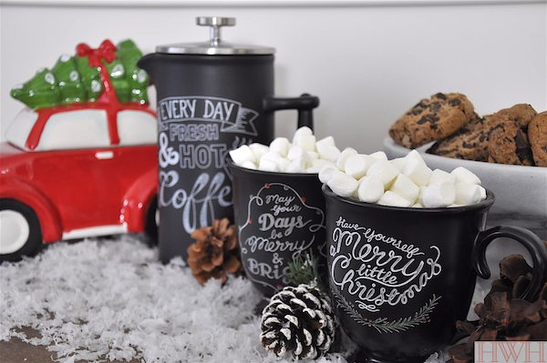 Hot cocoa and coffee on Christmas morning served in the cutest chalk mugs | Honey We're Home