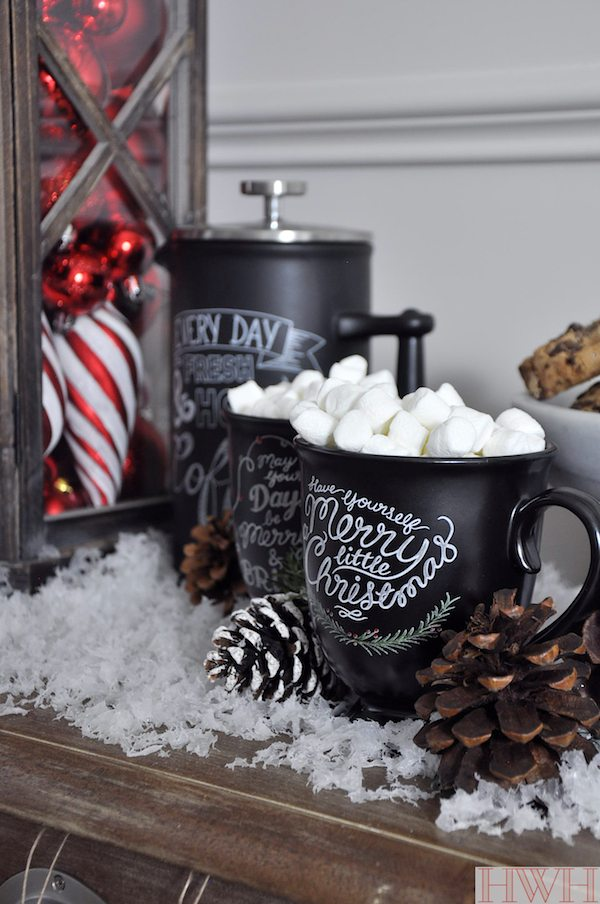 Hot cocoa and coffee on Christmas morning served in the vintage-looking Santa mugs | Honey We're Home