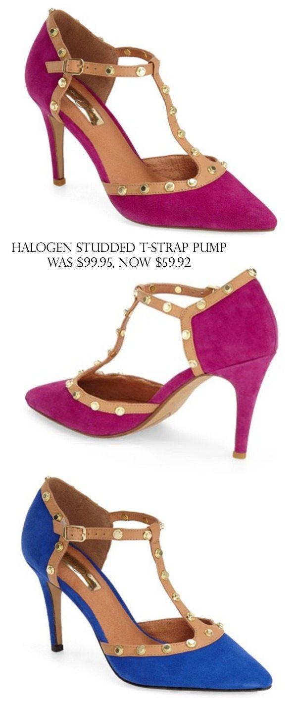 Halogen Studded T-Strap Pump $99.95, $59.92 (40% off)   Black Friday Sales