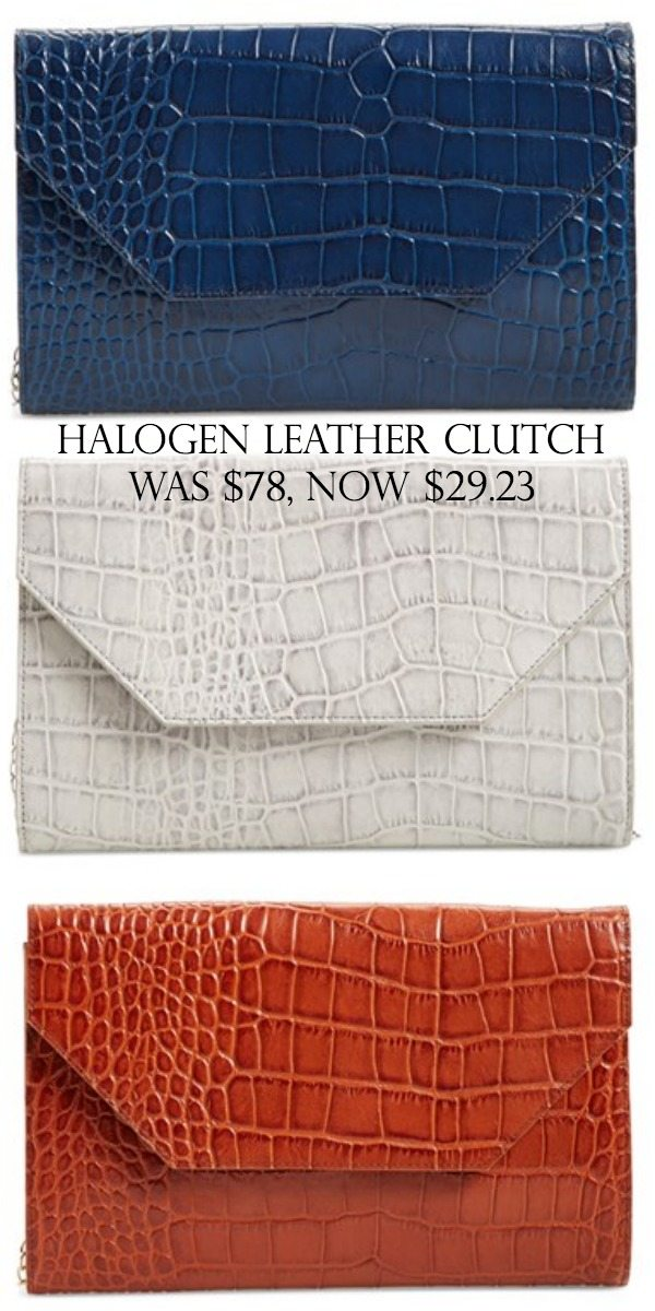 Halogen Leather Clutch on sale | Black Friday Sales