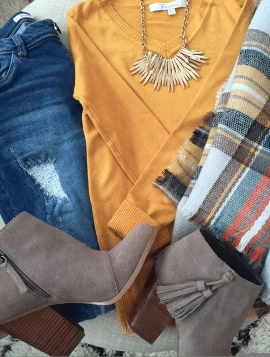 Vigoss distressed jeans, solid sweater, plaid scarf, tassel booties and statement necklace