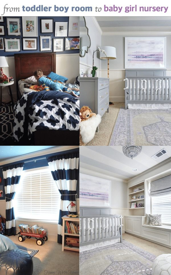 See the transformation from toddler boy room to baby girl nursery | Honey We're Home