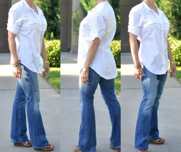 bootcut jeans with wedges and white button-down