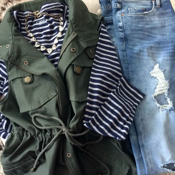 Fall/Winter fashion - distressed jeans and stripe top w military vest and statement necklace
