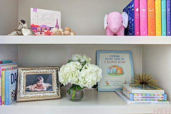 Baby Girl's Lavender Nursery - bookshelf styling| Honey We're Home