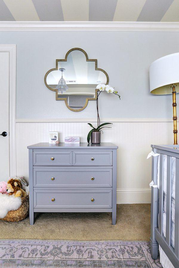 Baby Girl's Lavender Nursery, stripes on the ceiling | Honey We're Home