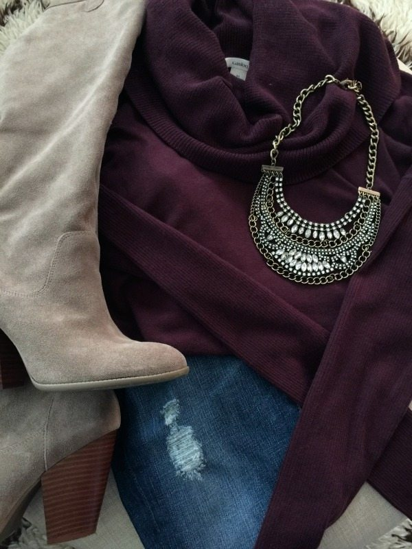 Tall boots, distressed jeans, sweater, statement necklace