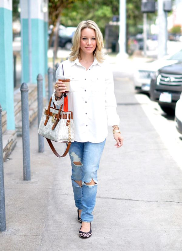 Fall fashion - white button down, ripped jeans, and great bag
