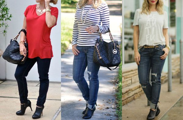 Fall fashion - black heeled booties with jeans- her blog shows lots of options for how to wear your booties