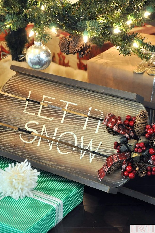 Christmas tree decorations - let it snow mini wooden sled