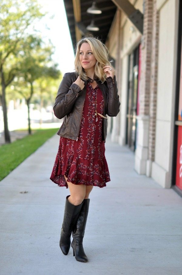 Pregnancy update 22 weeks.  Maternity Fashion Shirtdress with Leather Jacket.