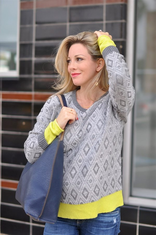 Comfy gray and yellow sweater.