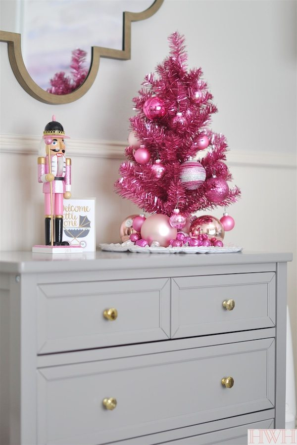 Pink & Gold Holiday Nursery Decor | Honey We're Home