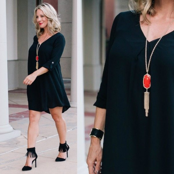 Fall fashion - little black dress with red Kendra Scott necklace and fringe heels - date night here I come!
