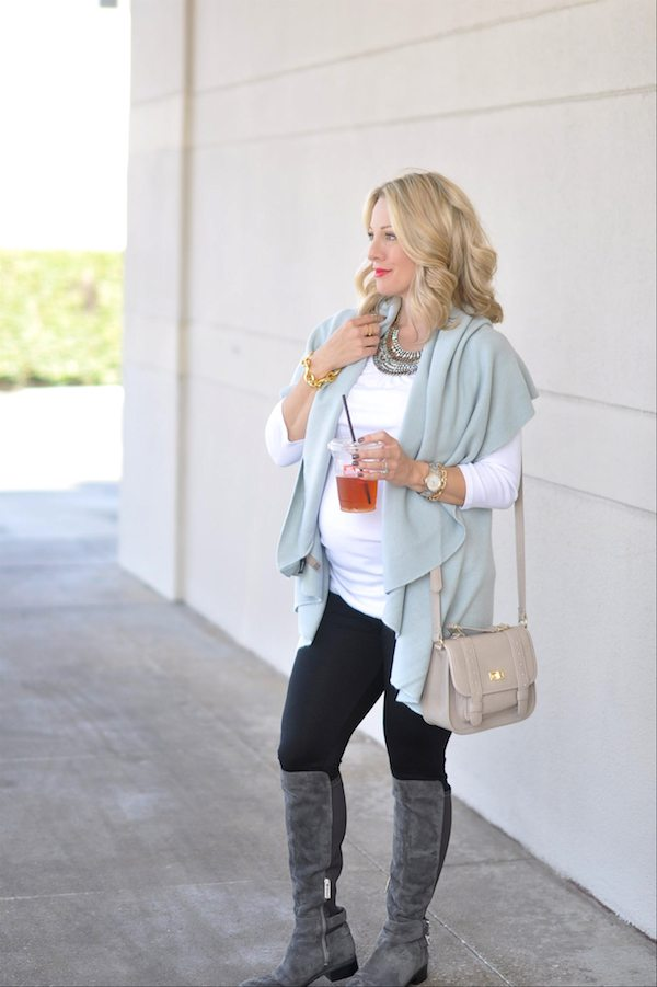 Winter fashion | ModCloth soft blue vest cardigan