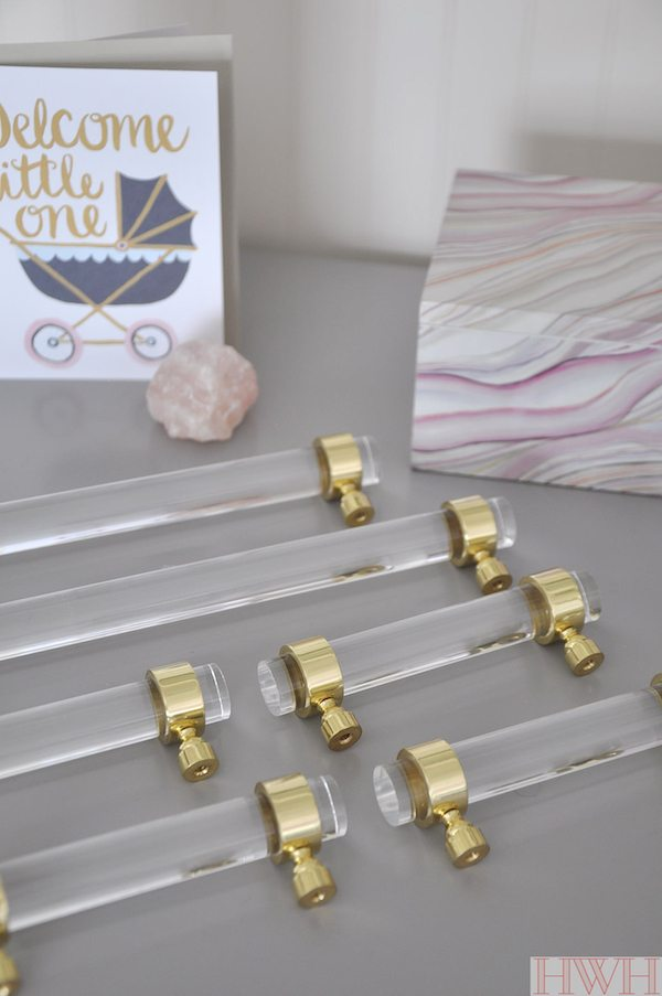 Lucite and gold cabinet hardware | Honey We're Home