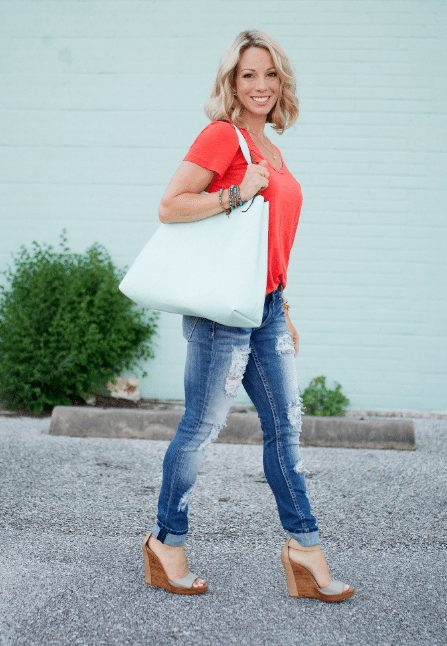 Faux leather reversible tote and Halogen tee.