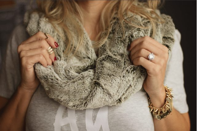 Super soft faux fur infinity scarf, watch, rings and cluster bracelet.
