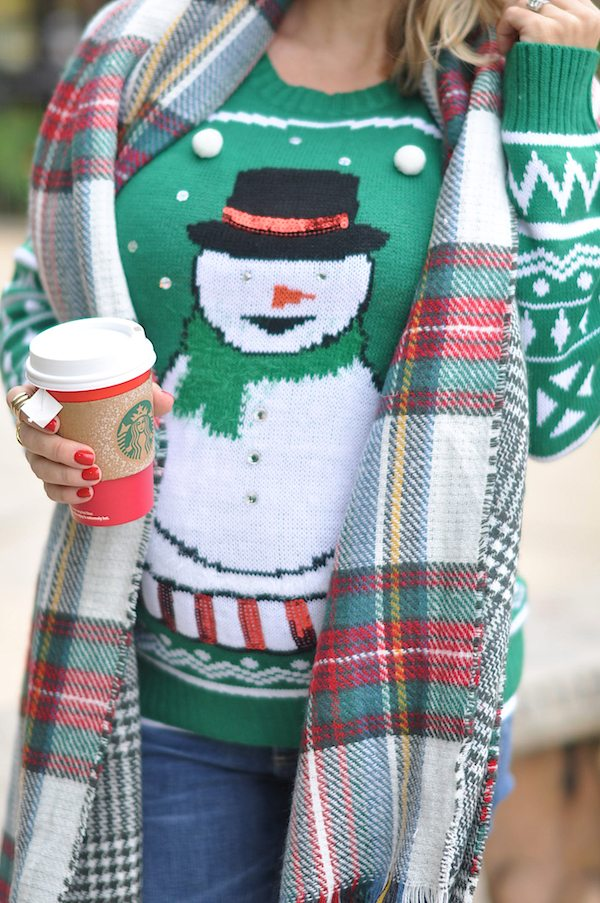 Winter fashion | festive snowman sweater and plaid reversible scarf