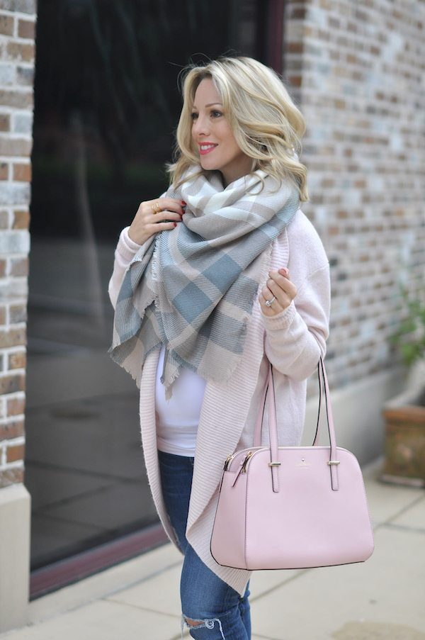 Pink Kate Spade bag just the right size with scarf and pink 'cocoon' cardigan.