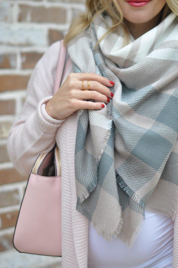 Fall & Winter Fashion - pink cardigan and plaid scarf, pink Kate Spade purse