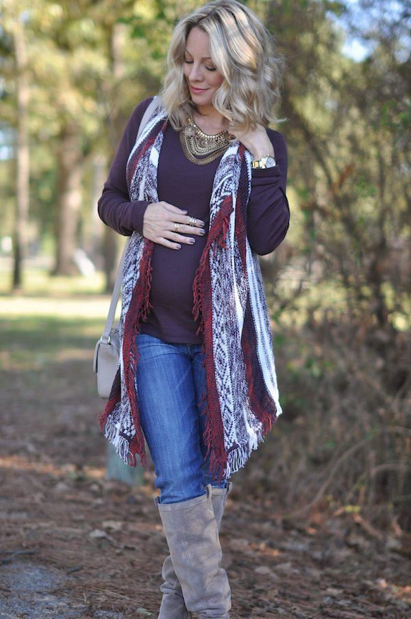 Pregnancy update 24 weeks.  Maternity fashion cardigan and top.
