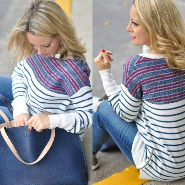Fall/Winter fashion - striped side zip sweater, cute detail