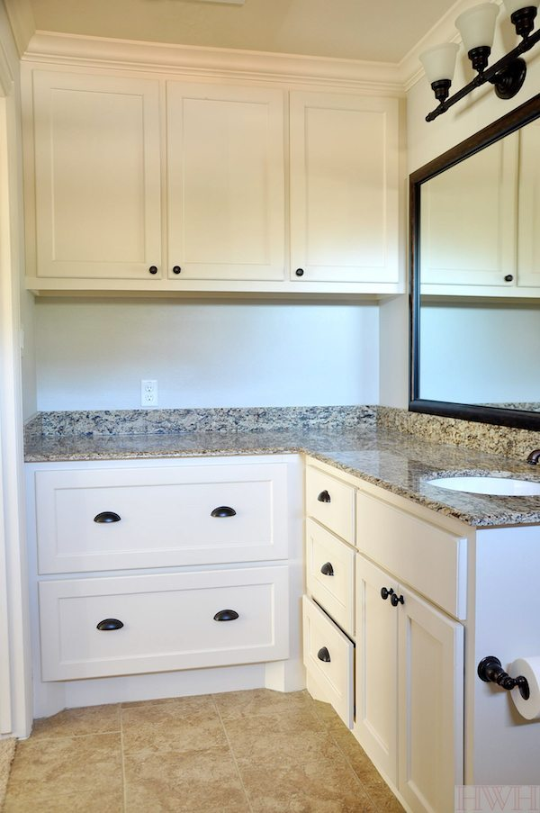 Bathroom with deep counters perfect for drying and changing a baby, with extra large drawers to function as dresser for clothes or other storage   Honey We're Home