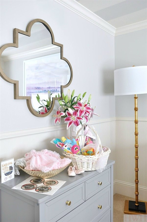Baby girl nursery with gold accents and striped ceiling   Honey We're Home