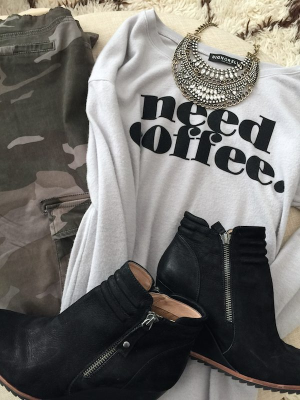Fall & Winter Fashion - camo pants and 'need coffee' top