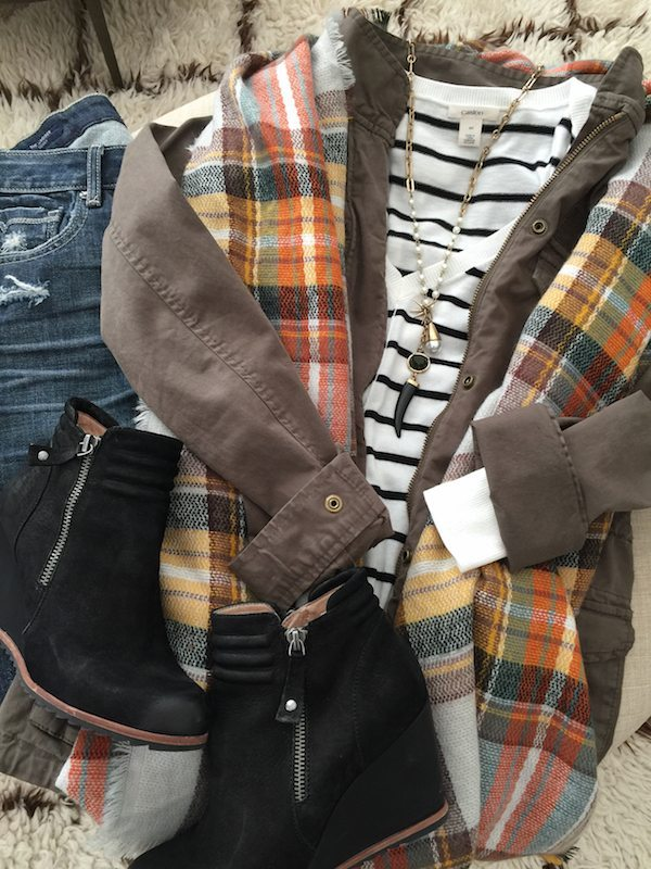 Fall & Winter Fashion - distressed jeans, striped top, military jacket and plaid blanket scarf- great casual weekend outfit